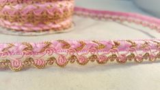 Beautiful Cerise pink and gold fringe lace trim for designing arts 1 metre 2cm