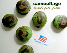 Serve Some: memorial day camo whoopie pies. School Birthday Treats, Birthday Parties, Birthday Ideas, Camouflage Party, Whoppie Pies, 4th July Crafts, Welcome Home Parties, Edible Crafts, Greens Recipe