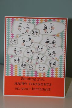 Happy Thoughts Birthday Card.  Inspired by another pinner.  Used Peachy Keen Stamps, Artiste and Geoge and Basic Shapes Cartridge.  Changed some of the shapes of the conversation bubbles in CCR.