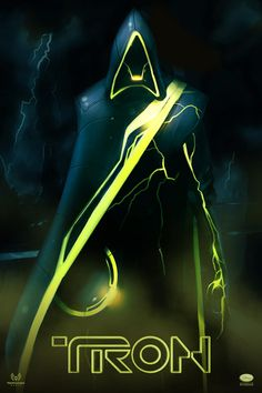 """Tron Evolution. Ominous black hood, asymmetrical cloak, """"diseased"""" tron lines and the very off-putting shade of yellow combine to give this costume the correct amount of creepy."""