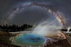 just–space:  Milky Way seen over Silex Spring in Yellowstone National Park   js