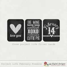 Valentine's Day Project Life Freebie Filler Cards