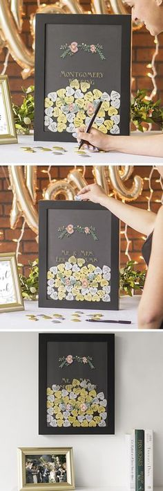 A unique guest book alternative and a gorgeous compliment to a black and gold theme wedding reception, this personalized heart drop shadow box will turn heads as guests enter your reception hall. guests sign a gold or silver heart on one side with well-wishes on the other and drop in the top of the shadow box. Afterwards, the shadow box can be hung on a wall at home. This heart signature drop box can be ordered at…
