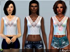 Sims  Addictions: Sims 4 Camisole Lace Tops