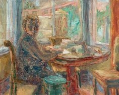 Woman Writing at a Desk  by John Lessore