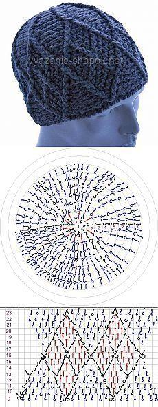 Шапка крючком с ромбами – теплый подарок любимому мужчине | ВЯЗАНИЕ ШАПОК: женские шапки спицами и крючком, мужские и детские шапки, вязаные сумки