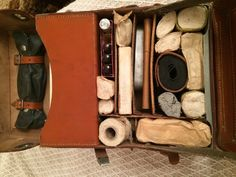WW2 German KRETA medical leather bag, Red Cross, DRK full with medical contents