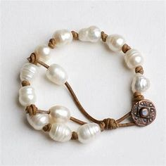 Image result for Pearl and Leather Bracelet Tutorial