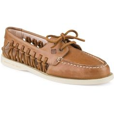 Sperry A O Haven Boat Shoes ($110) ❤ liked on Polyvore featuring shoes, loafers, sahara, round cap, boat shoes, light weight shoes, lace up boat shoes and round toe shoes