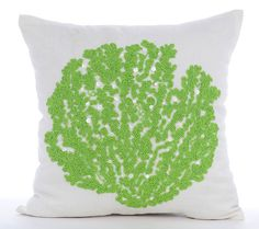 Decorative Throw Pillow Covers Accent Pillow Couch Toss Sofa Pillow 16x16 White Linen Pillow Cover Green Bead Embroidered Deep SeaWeeds