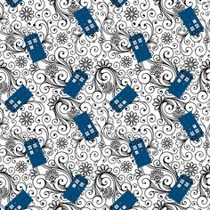 Doctor Who collection-Tardis on floral swirl