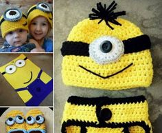 Lots of easy craft ideas including crochet and knitting projects you'll love! All Free Crochet, Crochet For Boys, Knit Crochet, Crocheted Hats, Minion Crochet Patterns, Crochet Mignon, Crochet Baby Clothes, Diaper Covers, Kids Hats