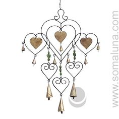 6 Heart with Glass Beads Iron Wind-chime Diy Wind Chimes, Glass Beads, Iron, Heart, Crafts, Jewelry, Manualidades, Jewlery, Jewerly