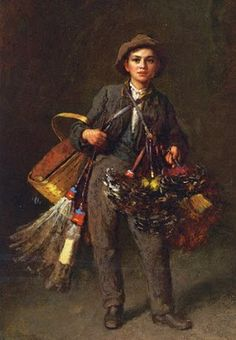 """Feather Duster Boy, a theme that had considerable appeal to American art patrons in the mid-nineteenth century, that of the young entrepreneur eagerly hawking his wares or his skills. These young street people-peddlers, chimney sweeps, itinerant fiddlers, and street musicians evolved from """"fancy pictures,"""" done by English and Continental painters."""