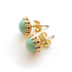 Mint Stud Earrings - Small Simple Sea Foam Green Post Earrings - Gold Bezel - Handmade Jewelry. $22.00, via Etsy.