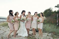 Bridesmaids in pink, peach and champagne.     Romantic, Beach Chic Wedding Part 2 by Carla Ten Eyck | CHECK OUT MORE IDEAS AT WEDDINGPINS.NET | #weddings #weddinginspiration #inspirational