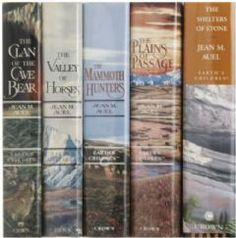 clan of the cave bears book series by Jean Auel- LOVE (although I do get a little TOO into them and get all emotional and junk)