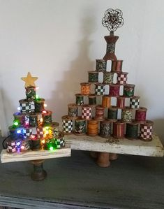 I just couldn't bear to throw out my old wooden thread spools! Handmade Christmas Crafts, Unique Christmas Trees, Christmas Tree Crafts, Holiday Crafts For Kids, Christmas Wood, Christmas Projects, Christmas Decorations, Christmas Ornaments, Merry Christmas