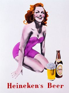 Heneken's beer, Publicidad, Marketing, chicas pin-up, Vintage