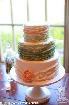 "Design W 0703 | Fondant Cover Wedding Cake | 12""+9""+6"" | Serves 100 | Ombre Fondant Ruffles, Sugar Flower | Custom Quote | Photo Courtesy of VID Studio"