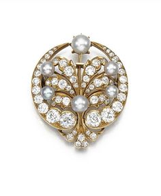 PEARL AND DIAMOND BROOCH, CIRCA 1890. | Sotheby's