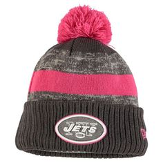 New York Jets New Era Youth Breast Cancer Awareness Sideline Pom Cuffed Knit Hat - Heather Gray - $22.99