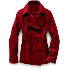 Victoria'S Secret Double-Breasted Peacoat ($65) ❤ liked on Polyvore featuring outerwear, coats, jackets, tops, women, red double breasted coat, fitted coat, faux coat, victoria secret coats and peacoat coat