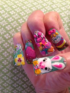 Easter Nails by Sky Bad Nails, Crazy Nails, Long Nails, Sinaloa Nails, Duck Nails, Easter Nails, Nail Studio, Manicure And Pedicure, Custom Design
