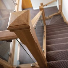 This modern oak and glass staircase combine beautiful design with the finest materials and superb craftsmanship for a feature that will last for decades. Timber Staircase, Painted Staircases, House Staircase, Staircase Railings, Staircase Glass Design, Balustrade Design, Glass Balustrade, Bespoke Staircases, Free Brochure