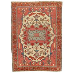 Antique Serapi Carpet | From a unique collection of antique and modern persian rugs at https://www.1stdibs.com/furniture/rugs-carpets/persian-rugs/