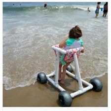 Help kids play on the beach! create a walker that will help mobility challenged children move freely in the sand & play at the waters edge, like their typical counterparts! Pvc Chair, Special Needs Resources, Wheelchair Accessories, Mobiles, Pvc Pipe Projects, Sand Play, Adaptive Equipment, Big Balloons, Assistive Technology