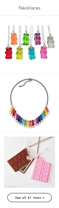 """""""Necklaces"""" by shy-love ❤ liked on Polyvore featuring jewelry, necklaces, accessories, candy, shiny charm, mini charm necklace, bear jewelry, fake necklace, mini necklace and rainbow"""