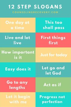 How to use 12 step slogans | 12 step recovery | codependency quotes | life lessons | addiction recovery | 12 step recovery worksheets | Click to read more. #recovery  #codependency #recoveryquotes