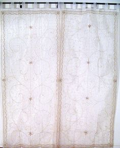 Sheer mirror embroidery Indian curtain panels