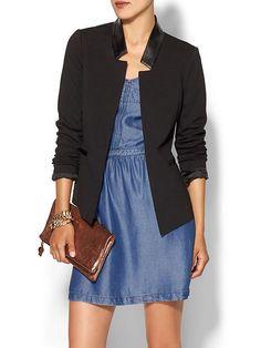 leather collar blazer | Minimal | Neutral | Fall | Inspiration | Fashion | #sidesmileshops