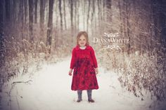 little girl in the snow in a red dress www.DianaWhytePhotography.com