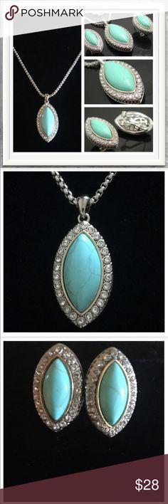 """NWOT Turquoise & White Topaz Necklace/Earring Set NWOT Gorgeous New Turquoise and White Topaz Made of 18k White & Yellow Gold over High End Jewelry Brass. Gemstones: 23.50ctw Turquoise & White Topaz. Measures Approximately Necklace 16-19"""" Earrings 5/8"""" x 1"""" This set is new and has not been worn. Will come in a gift box. The color of the Turquoise is a little darker; closest to the second picture. Please let me know if you would like me to post an additional picture of the color for you…"""