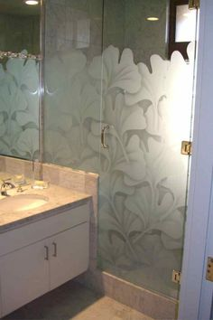 ginkgo leaves glass shower enclosure asian bathroom other metro sans soucie art glass