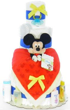 Mickey Mouse Diaper Cake Mickey Mouse Food, Mickey Mouse Crafts, Mickey Mouse Decorations, Mickey Mouse Parties, Monkey Diaper Cakes, Mickey Mouse Bedroom, Diaper Parties, Party Cakes, Elf On The Shelf