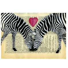 Zebra Original Painting Mixed Media on vintage Dictionary page