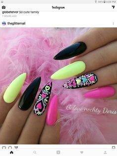 Hot Trendy Nail Art Designs that You Will Love Acrylic Nail Designs, Nail Art Designs, Acrylic Nails, Nails Design, Neon Pink Nails, Fancy Nails, Colorful Nails, Black Nails, Trendy Nail Art