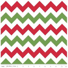 Riley Blake Red and Green Chevron Flannel Fabric