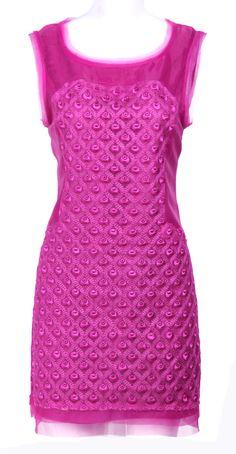 Rose Red Round Neck Sleeveless Zipper Back Dress EUR€48.71