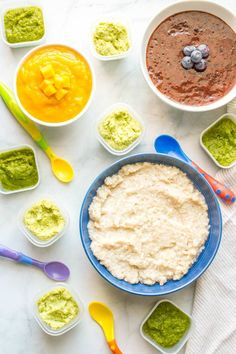 Homemade baby food barley, asparagus, edamame, blueberries and mango are 5 easy, healthy baby foods that can all be made in just 20 minutes!
