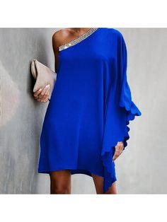 Side Slit Dress, Plain Dress, Royal Blue Dresses, Mini Vestidos, Looks Chic, Strapless Dress, Bodycon Dress, One Shoulder, Shoulder Dress