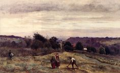 Jean-Baptiste-Camille Corot Ville d'Avray - the Heights: Peasants Working in a Field hand embellished reproduction on canvas by artist Almeida Junior, Martin Johnson Heade, Barbizon School, Henri Fantin Latour, Gustave Courbet, William Adolphe Bouguereau, Winslow Homer, Famous Artists, Art Reproductions