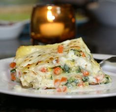 Roasted Vegetable WhiteLasagna-the best part is that the sauce isn't even unhealthy