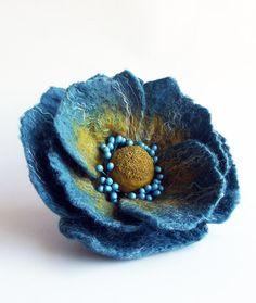 Felted Flower Brooch Hair Clip Wool Felt ❤ by ShishLOOKdesign