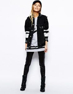 Image 4 of ASOS Denim Love Hate Peace Jacket