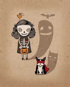 """""""I love this Halloween print from Sara Harvey. She has an etsy store but she doesn't have any works at the moment."""
